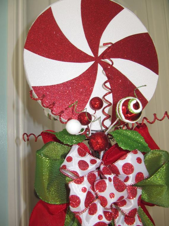 Candy Christmas Tree Topper  Christmas Tree Topper Peppermint Candy Tree by