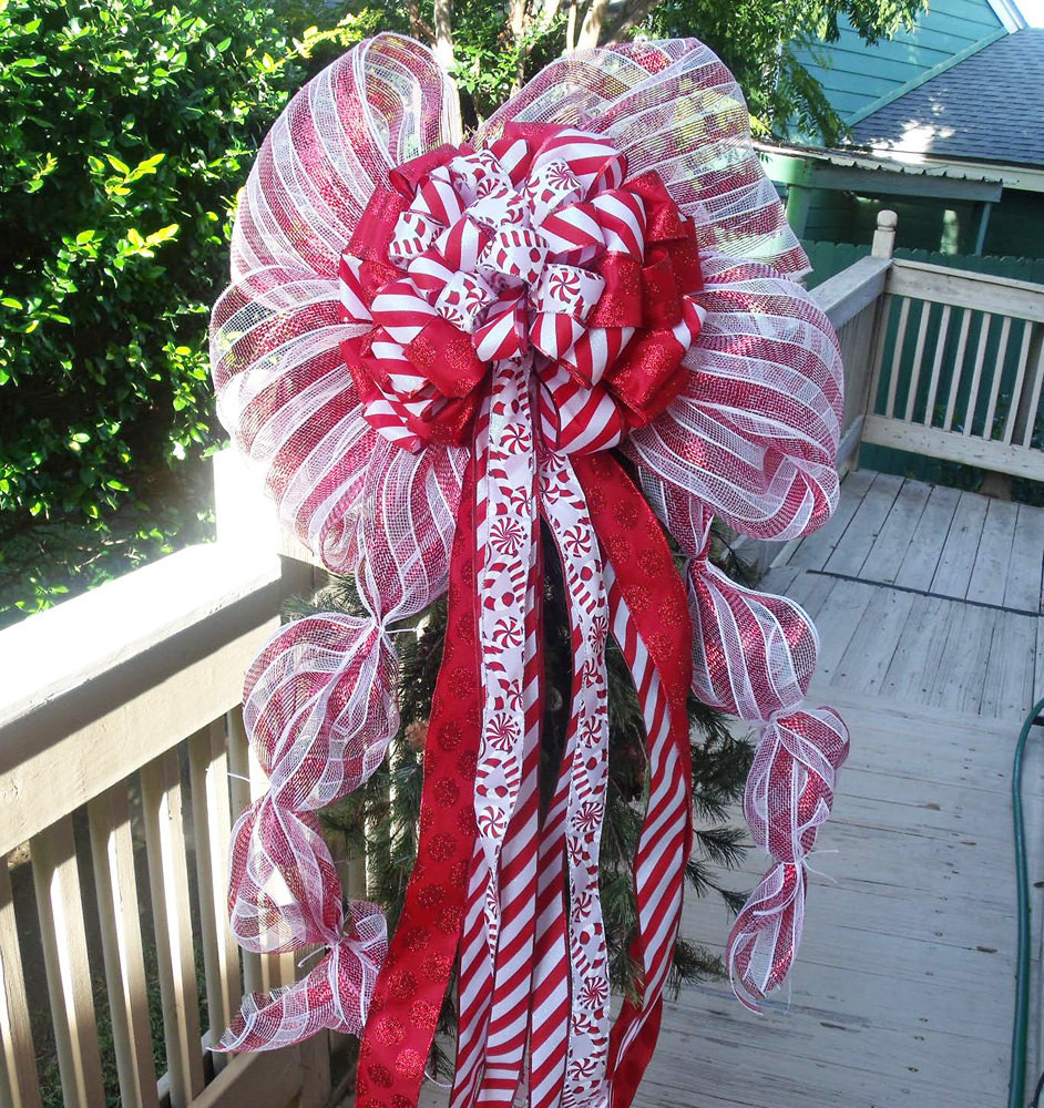 Candy Christmas Tree Topper  Over The Top Candy Cane Christmas Tree Topper by LuxeWreaths