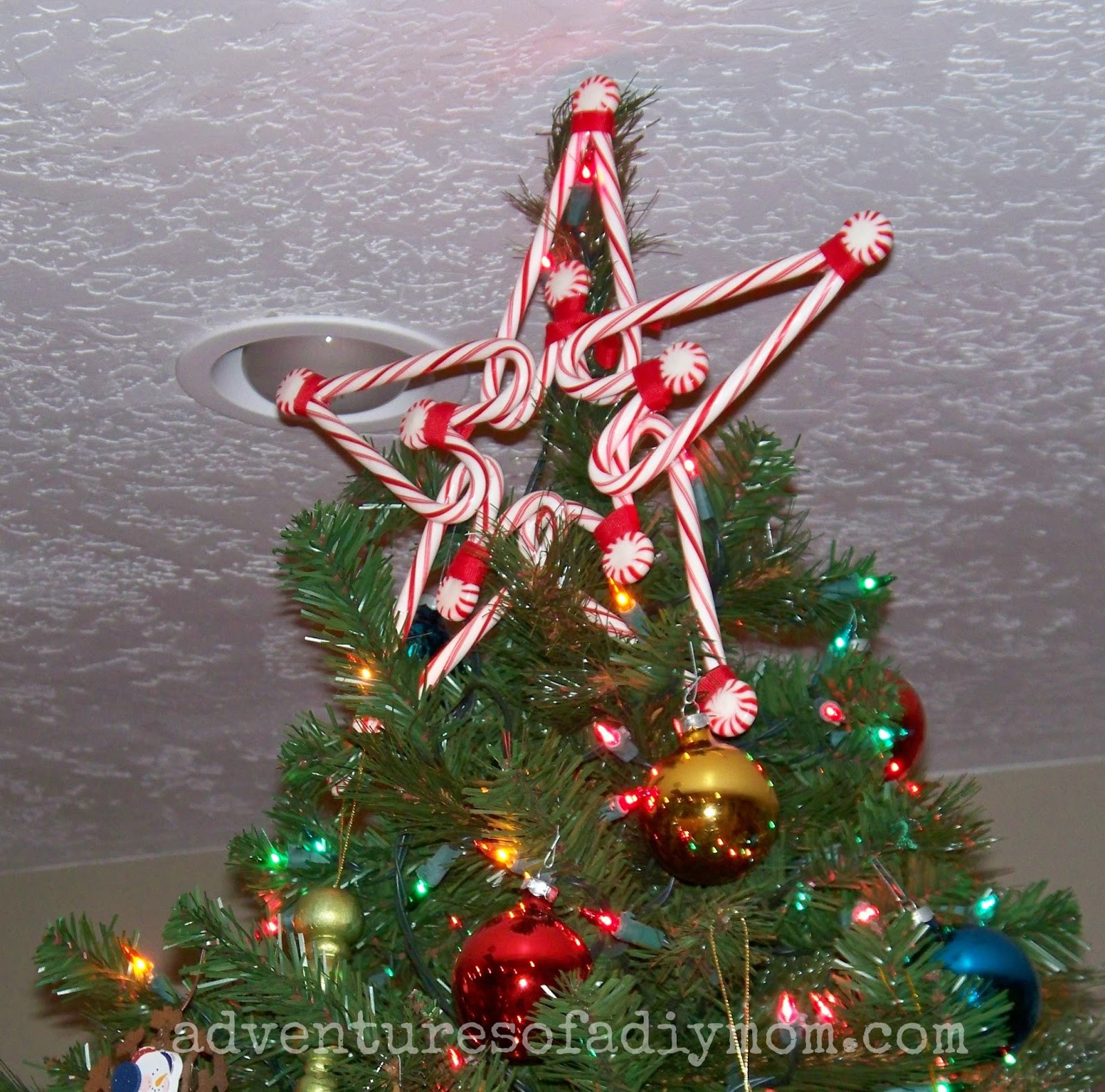 Candy Christmas Tree Topper  How to Make a Candy Cane Star Tree Topper Adventures of