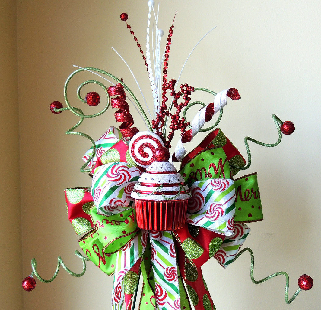 Candy Christmas Tree Topper  Candy Christmas Tree Topper Christmas Tree Topper Bow Candy