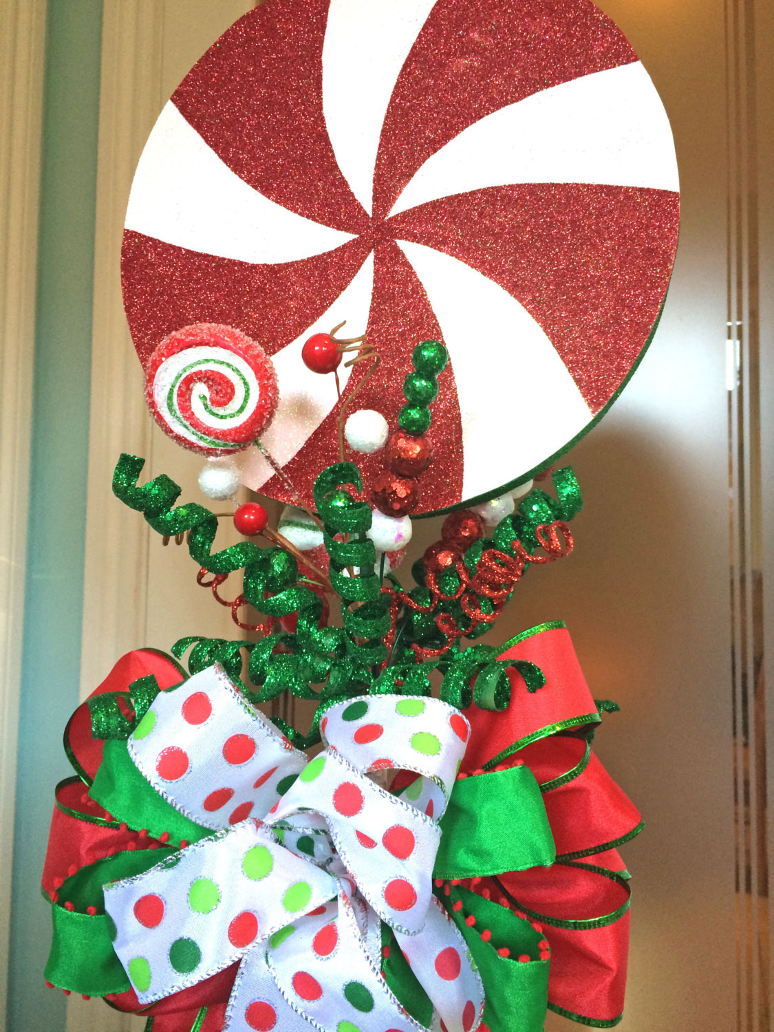 Candy Christmas Tree Topper  Christmas Tree Topper Peppermint Candy Tree Top topper Bow