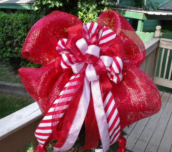 Candy Christmas Tree Topper  Items similar to Big Bow Topper Candy Cane Christmas Tree