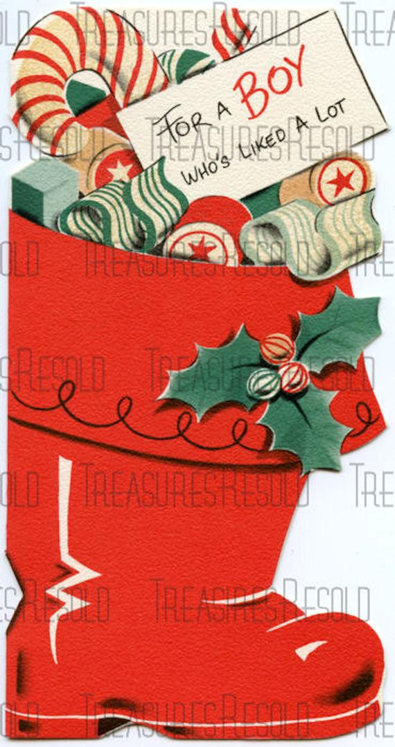 Candy Filled Christmas Stockings  Retro Candy Filled Christmas Stocking Card 213 Digital