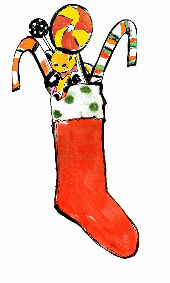 Candy Filled Christmas Stockings  Christmas stocking filled with teddy bear and candy canes