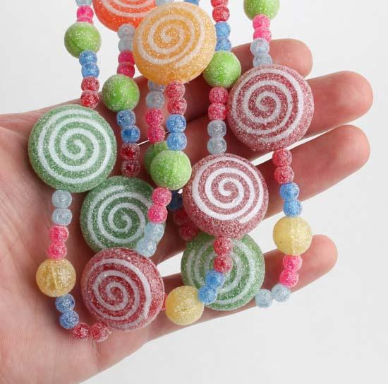 Candy Garland For Christmas Tree  Faux Glitter Candy Garland Christmas Garlands