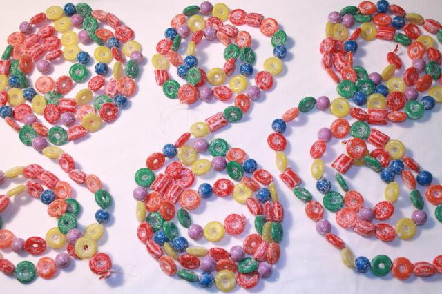 Candy Garland For Christmas Tree  glitter plastic candy Christmas garland & stars kitschy