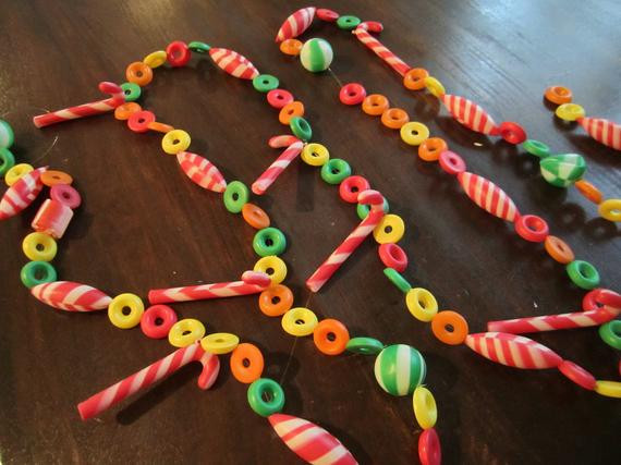 Candy Garland For Christmas Tree  Vintage Christmas Candy Garland 9 feet