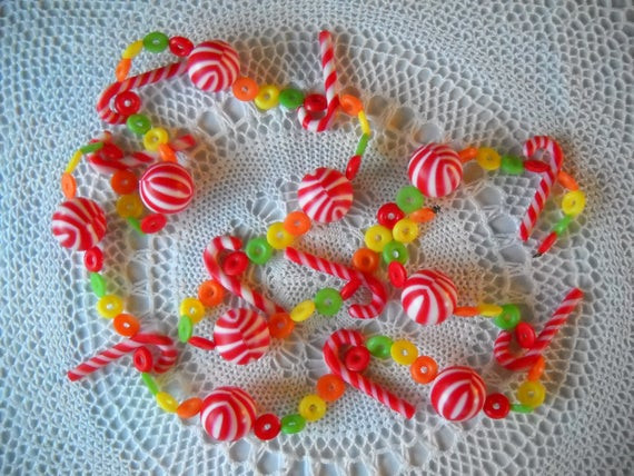 Candy Garland For Christmas Tree  Vintage Plastic Candy Garland Christmas Tree Decor