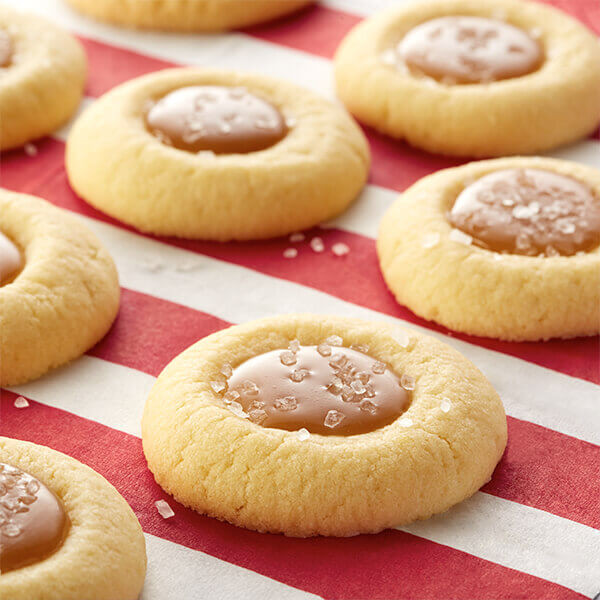 Caramel Christmas Cookies  Salted Caramel Thumbprint Cookies Recipe
