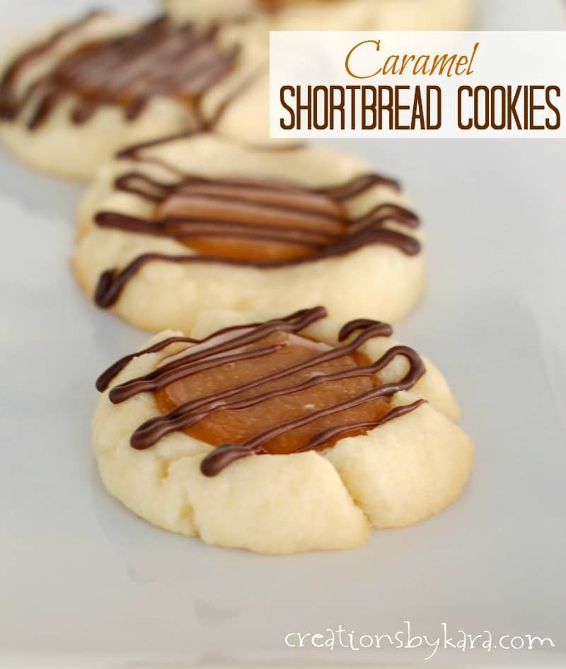 Caramel Christmas Cookies  Caramel Shortbread cookies with chocolate drizzle