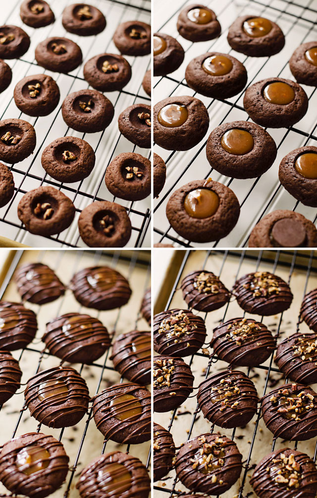 Caramel Christmas Cookies  Chocolate Caramel Turtle Thumbprint Cookies