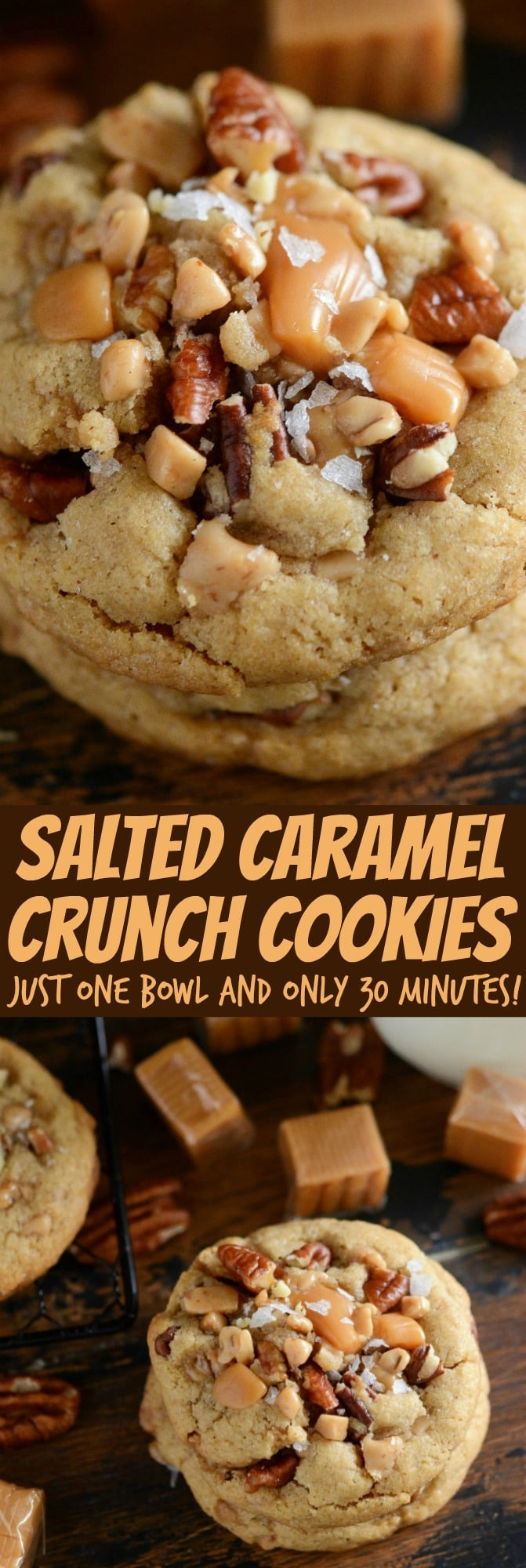 Caramel Christmas Cookies  Salted Caramel Crunch Cookies