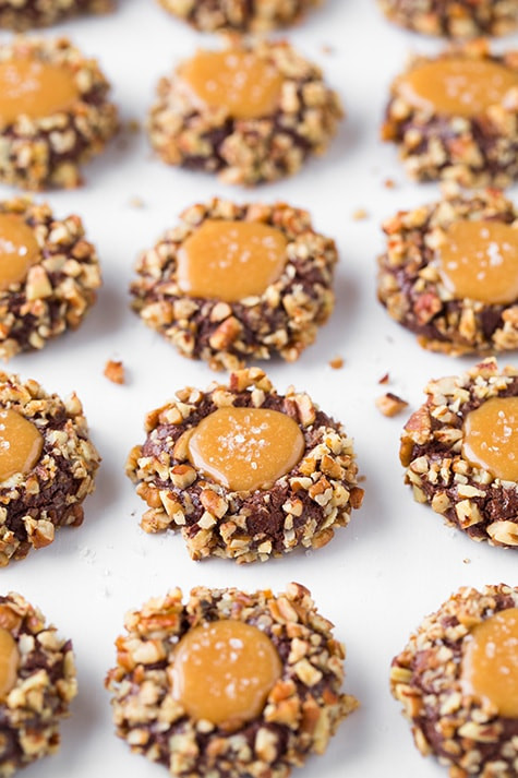 Caramel Christmas Cookies  Salted Caramel Turtle Thumbprint Cookies Cooking Classy