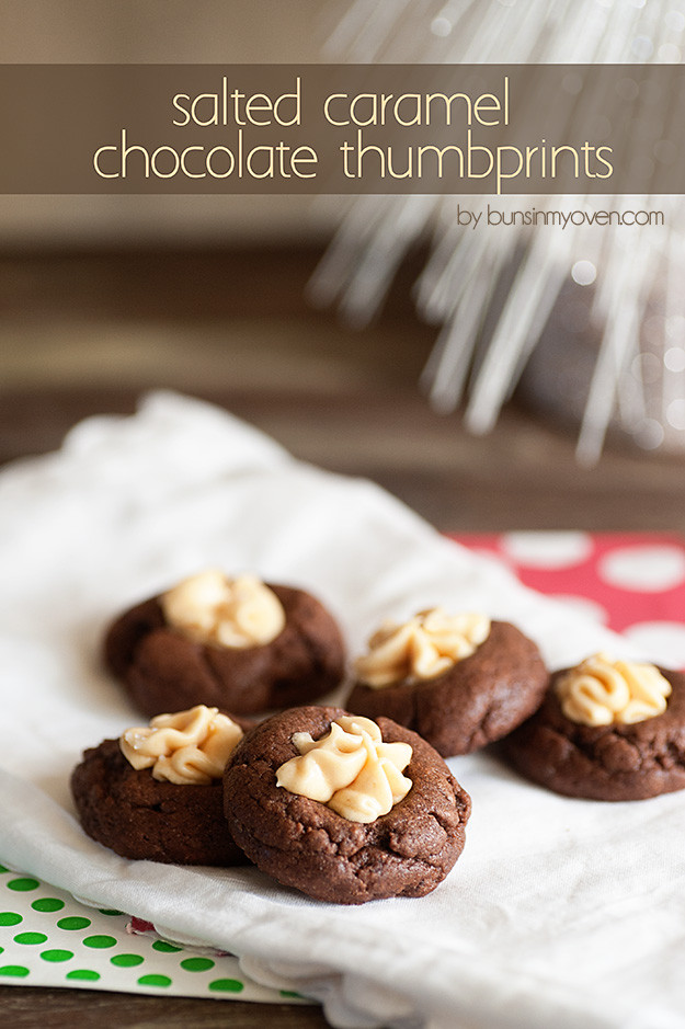 Caramel Christmas Cookies  Salted Caramel Chocolate Thumbprints Recipe