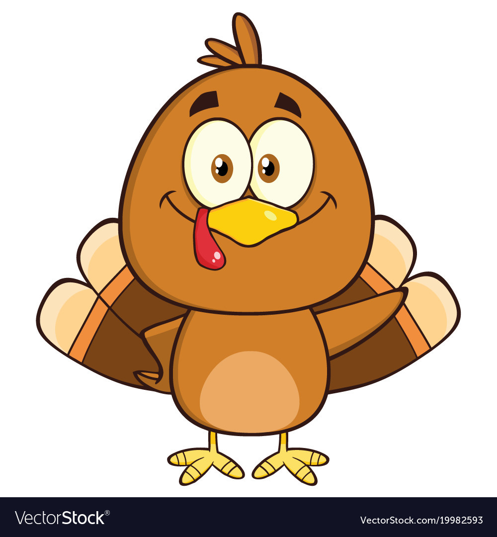 Cartoon Thanksgiving Turkey  Cute turkey bird cartoon character waving Vector Image