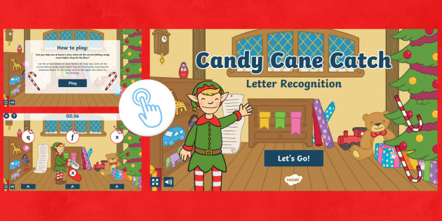 Catch The Candy Christmas  Candy Cane Catch Letter Recognition Game Christmas