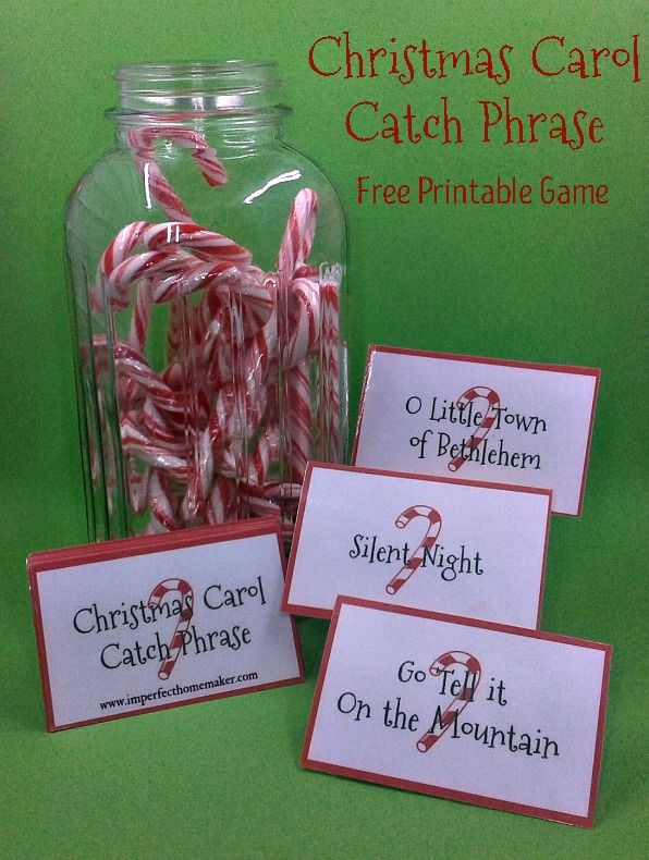 Catch The Candy Christmas  Christmas Carol Catch Phrase Game Free Printable