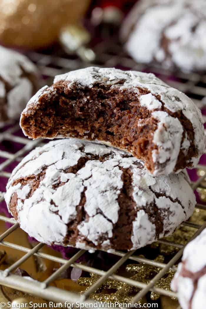 Chocolate Christmas Cookies With Powdered Sugar  Chocolate Crinkle Cookies Spend With Pennies