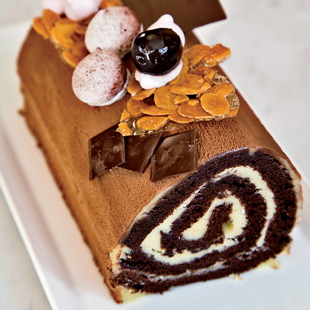 Chocolate Christmas Desserts  Cherry and Chocolate Bûche de Noël Recipe Dominique