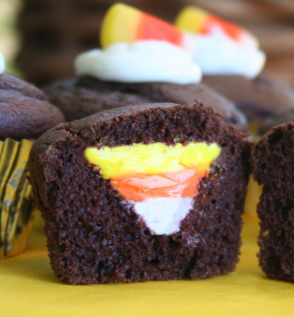Chocolate Halloween Cupcakes  Smart Cents Mom Halloween Countdown Candy Corn Cupcakes