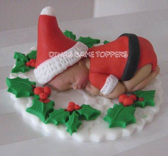 Christmas Baby Shower Cakes  Items similar to Santa suit Christmas present Baby Cake