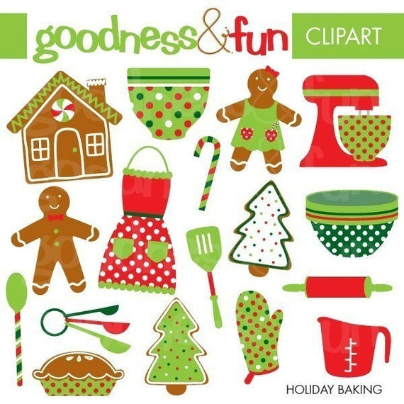 Christmas Baking Clipart  Buy 2 Get 1 FREE Holiday Baking Clipart Digital Christmas