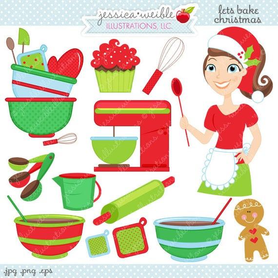 Christmas Baking Clipart  Lets Bake Christmas Cute Digital Clipart mercial Use Ok