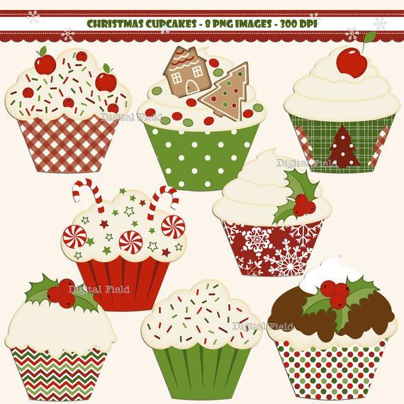 Christmas Baking Clipart  Items similar to Christmas Cupcake clip art set red