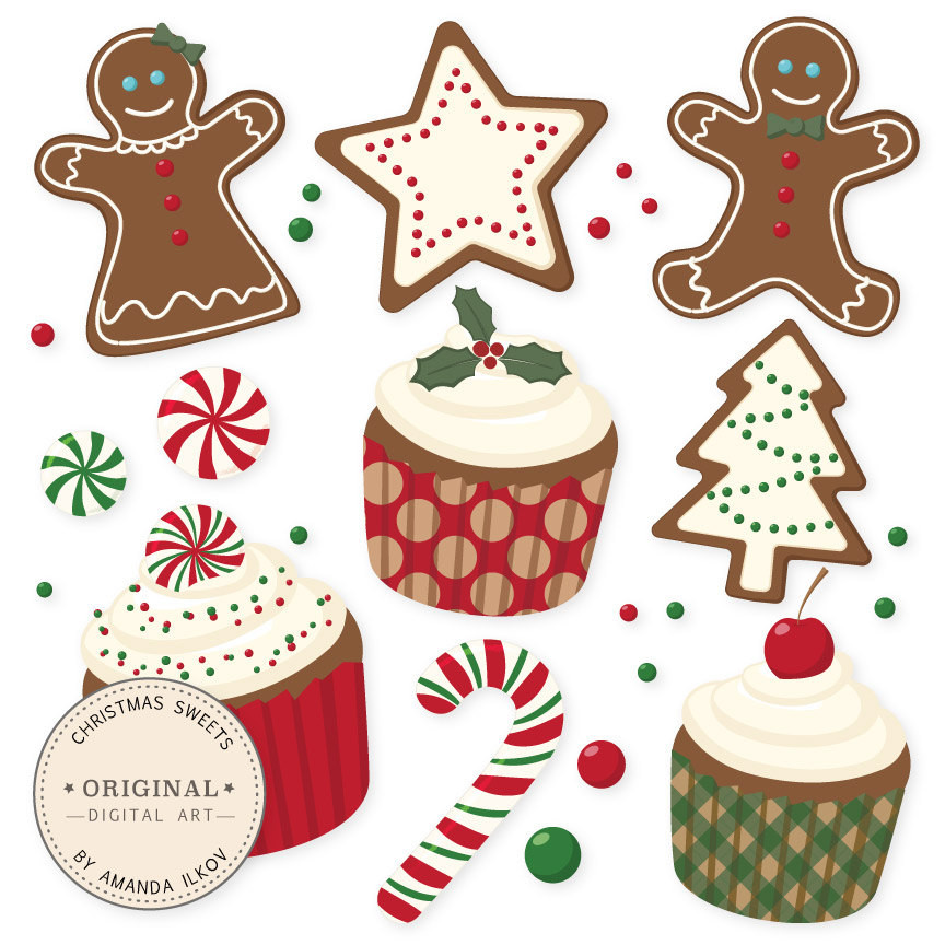 Christmas Baking Clipart  Professional Christmas Cookies and Cupcakes Clipart & Vector