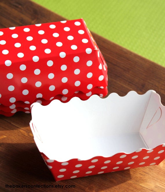Christmas Baking Pans  Christmas Red Dot Paper Loaf Baking Pans by