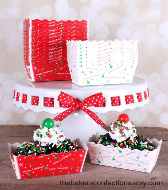 Christmas Baking Pans  Mini Christmas Paper Loaf Baking Pans in White and Red with