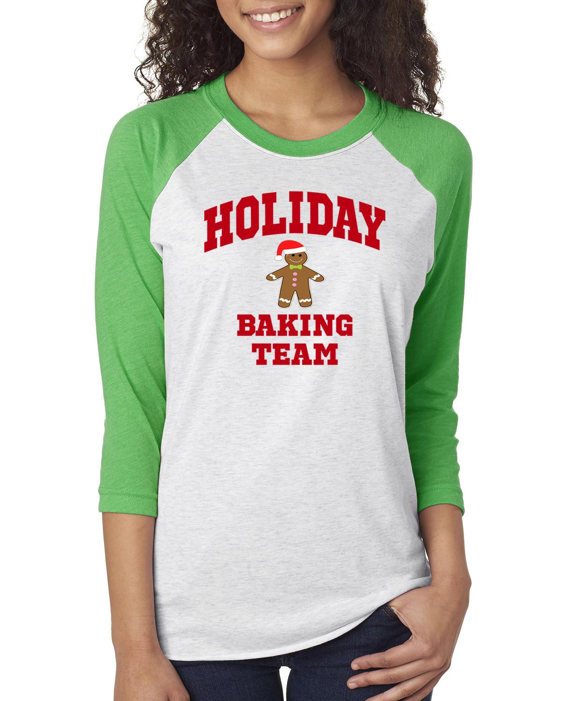 Christmas Baking Shirts  Holiday Baking Team Christmas Cookies Womens 3 4 Raglan