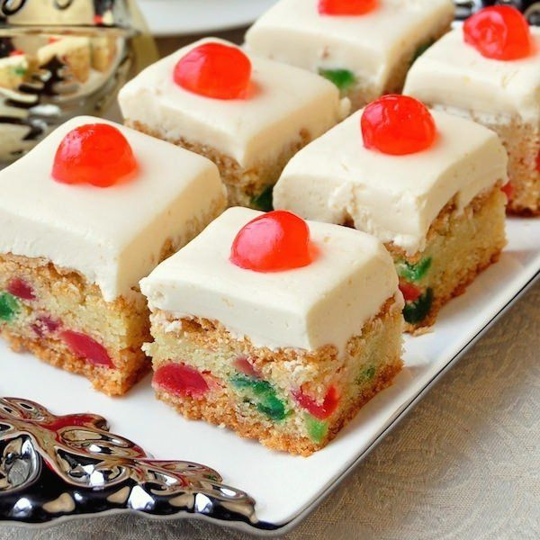 Christmas Baking Squares  Cherry Cake Squares Recipe Desserts