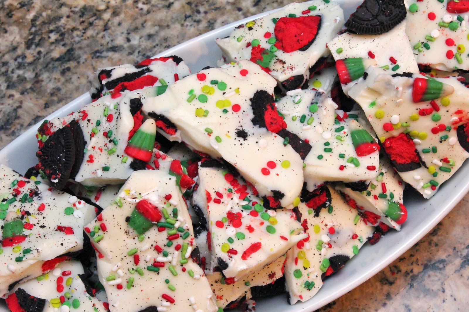 Christmas Bark Candy  booturtle s show and tell Christmas Candy Corn and Oreo Bark