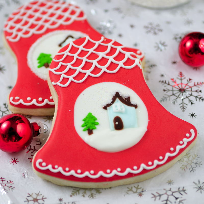 Christmas Bell Cookies  Haniela s Christmas Bells with a Pretty Snowy Scene