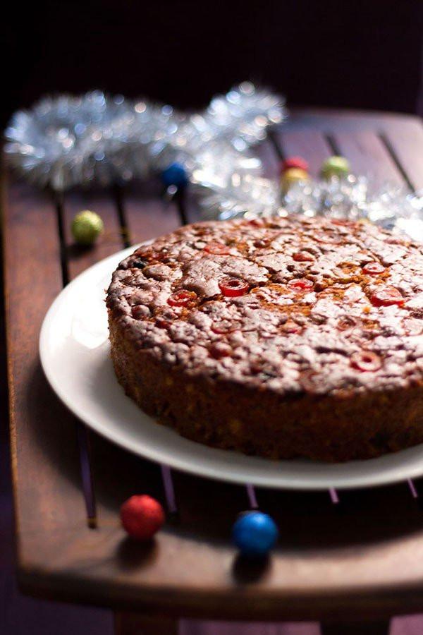 Christmas Cake Recipes  eggless christmas fruit cake recipe vegan eggless