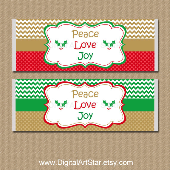 Christmas Candy Bar Wrappers  Christmas Candy Labels Holiday Candy Bar Wrappers