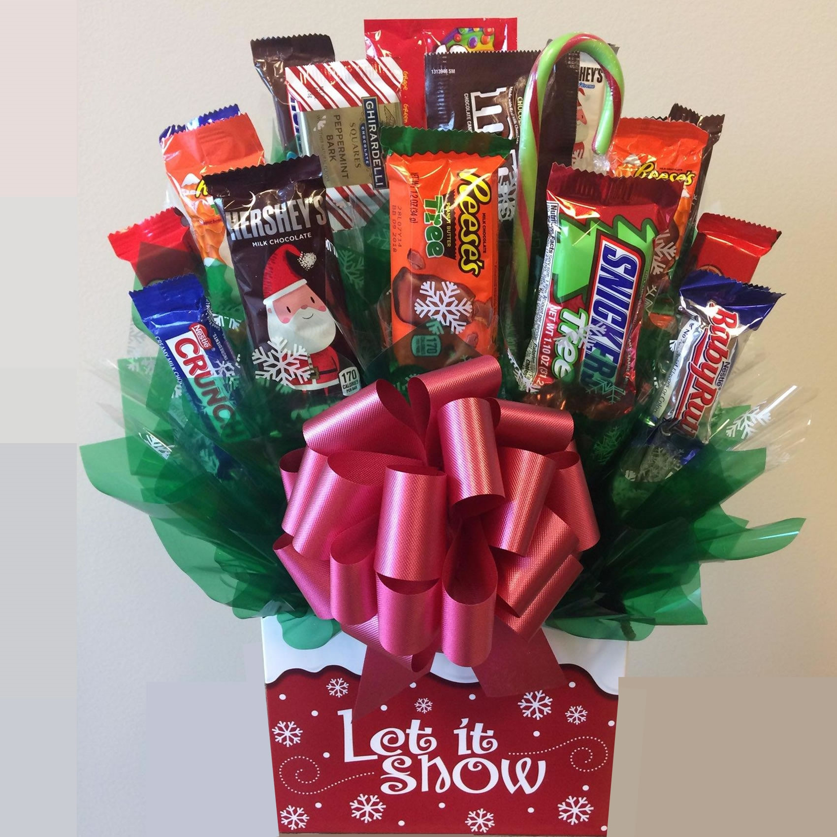 Christmas Candy Baskets  Let It Snow Candy Bouquet