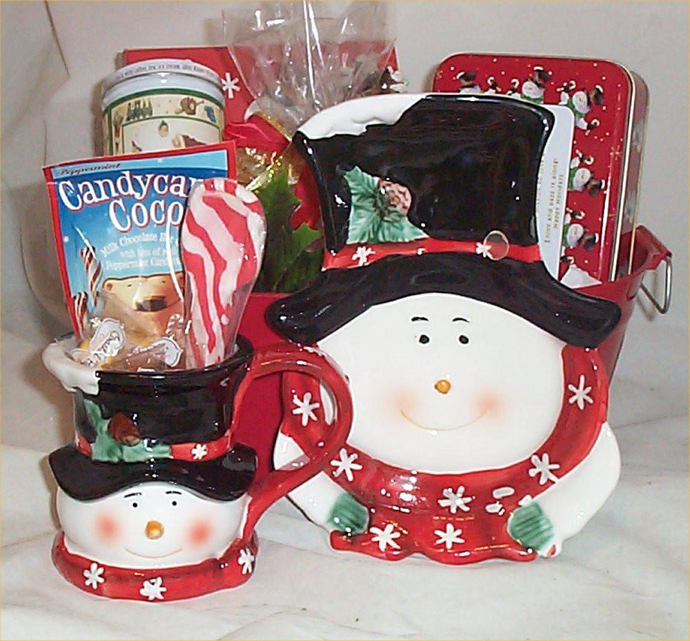 Christmas Candy Baskets  Gift Basket Snowman Holiday Mug Candy Cane Serving Dish