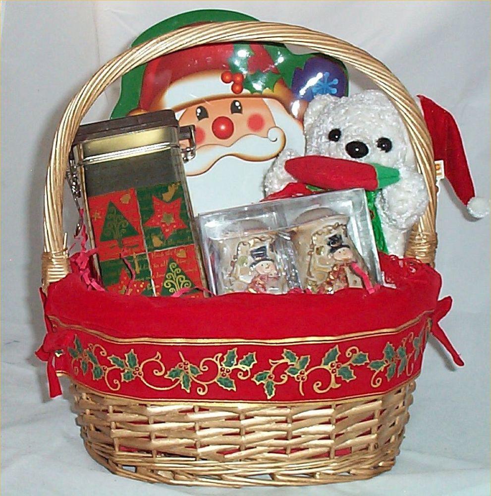 Christmas Candy Baskets  Gift Basket Santa Holiday Candy Salt Pepper Serving Tray