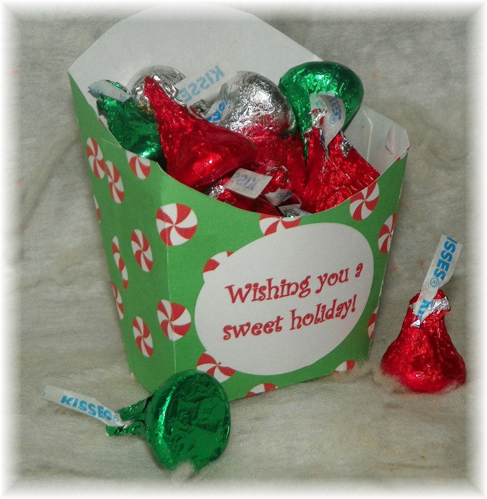 Christmas Candy Boxes  Printable Candy Cane Christmas Favor Box Instant by
