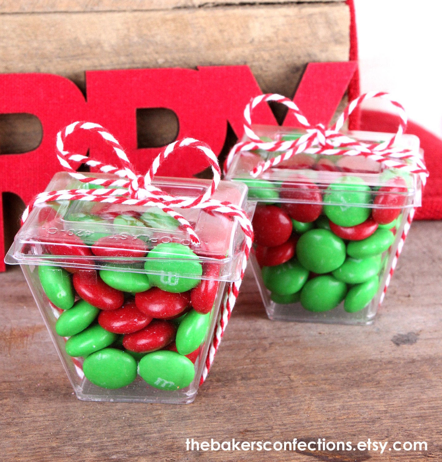 Christmas Candy Boxes  MINI Wedding Favor Candy Boxes with Lids by