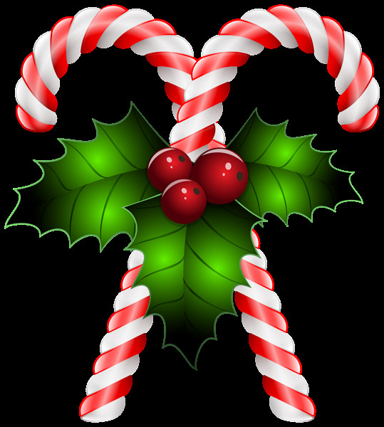 Christmas Candy Cane Clipart  Candy Canes with Holly Transparent PNG Clip Art Image