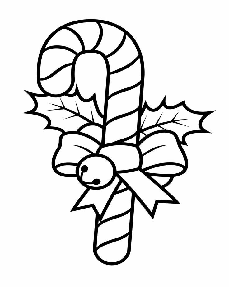 Christmas Candy Cane Coloring Pages  Candy Cane Decorated With Ribbons And Teddy Coloring Pages