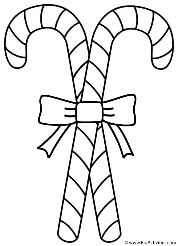 Christmas Candy Cane Coloring Pages  Two Candy Canes Coloring Page Christmas
