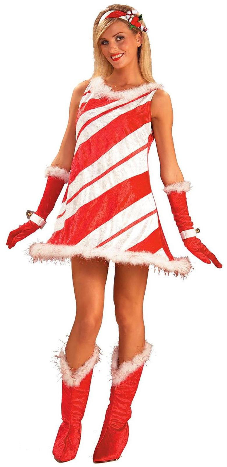 Christmas Candy Cane Costume  Miss Candy Cane Adult Costume SpicyLegs