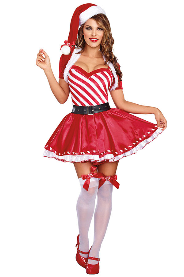 Christmas Candy Cane Costume  Womens Striped Ruffled Dress Christmas Candy Cane Costume