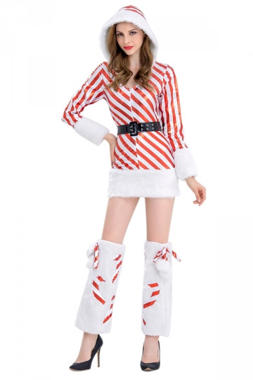 Christmas Candy Cane Costume  Fancy Adult Christmas Candy Cane Costume For Women Red