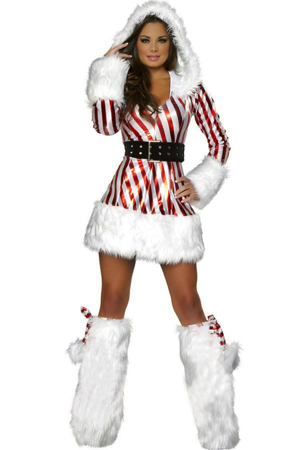 Christmas Candy Cane Costume  Red White Candy Cane Hooded Christmas Costume