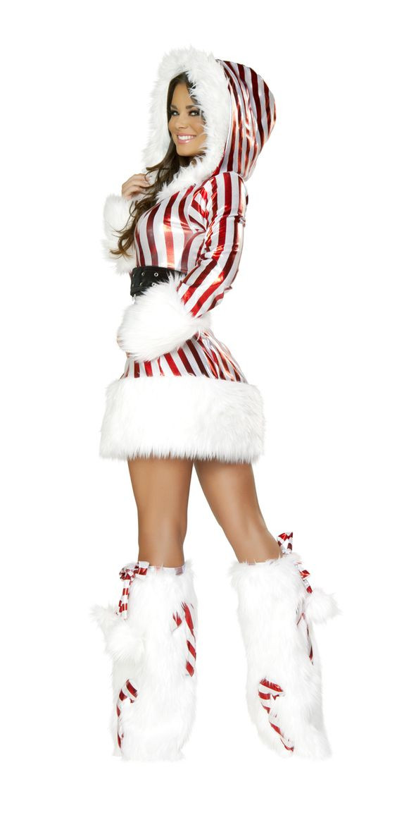Christmas Candy Cane Costume  Candy Cane Hooded Dress Christmas Costume for Women J
